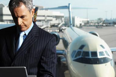 man with jet preparing for corporate travel