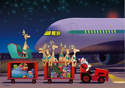 reindeer prepare to board a plane as part of a holiday travel poem