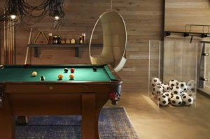 the game room at the hotel zeta