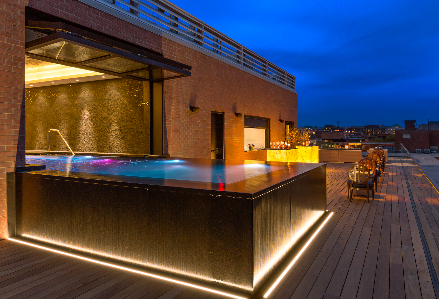 a rooftop pool view at The Capella in Georgeto
