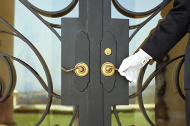 Door man holding door handle